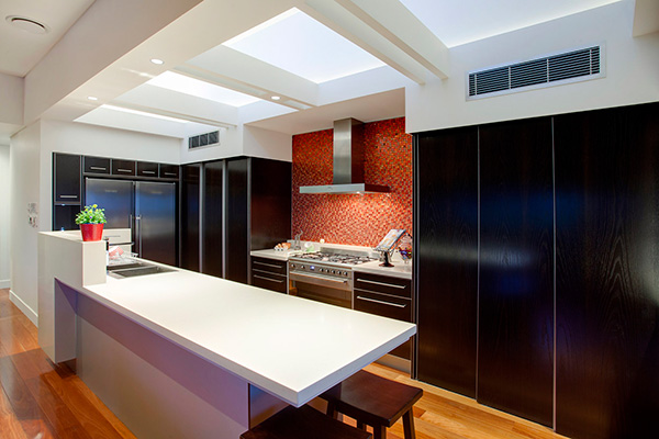 skylights in architecturally designed kitchen