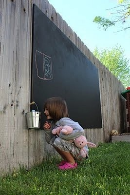 A chalkboard in a kid friendly backyard ideas