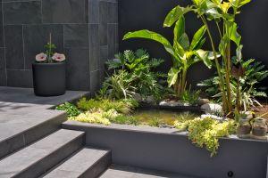 art deco queenslander front garden pond tropical