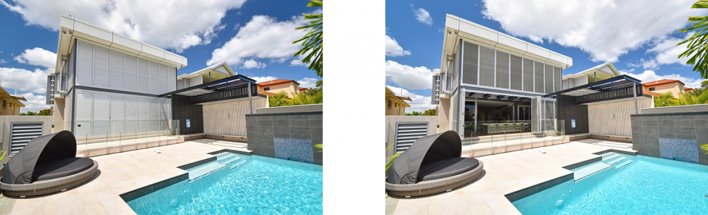 Image of Carina Heights luxury new home outdoor area with privacy shutters