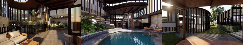 three images of multi-award winning toowong queenslander renovation
