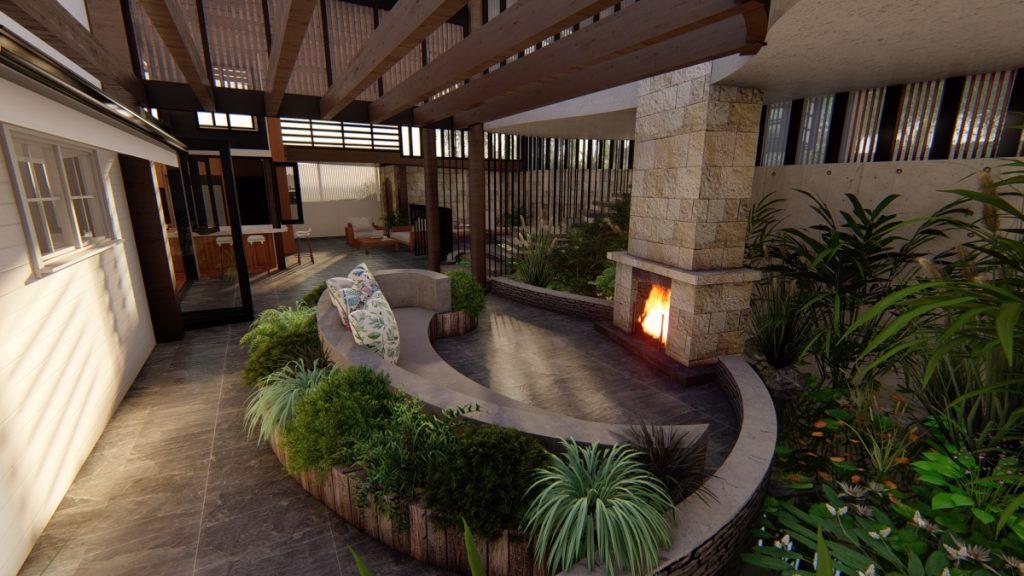 Image of Toowong queenslander renovation luxury outdoor fireplace and garden
