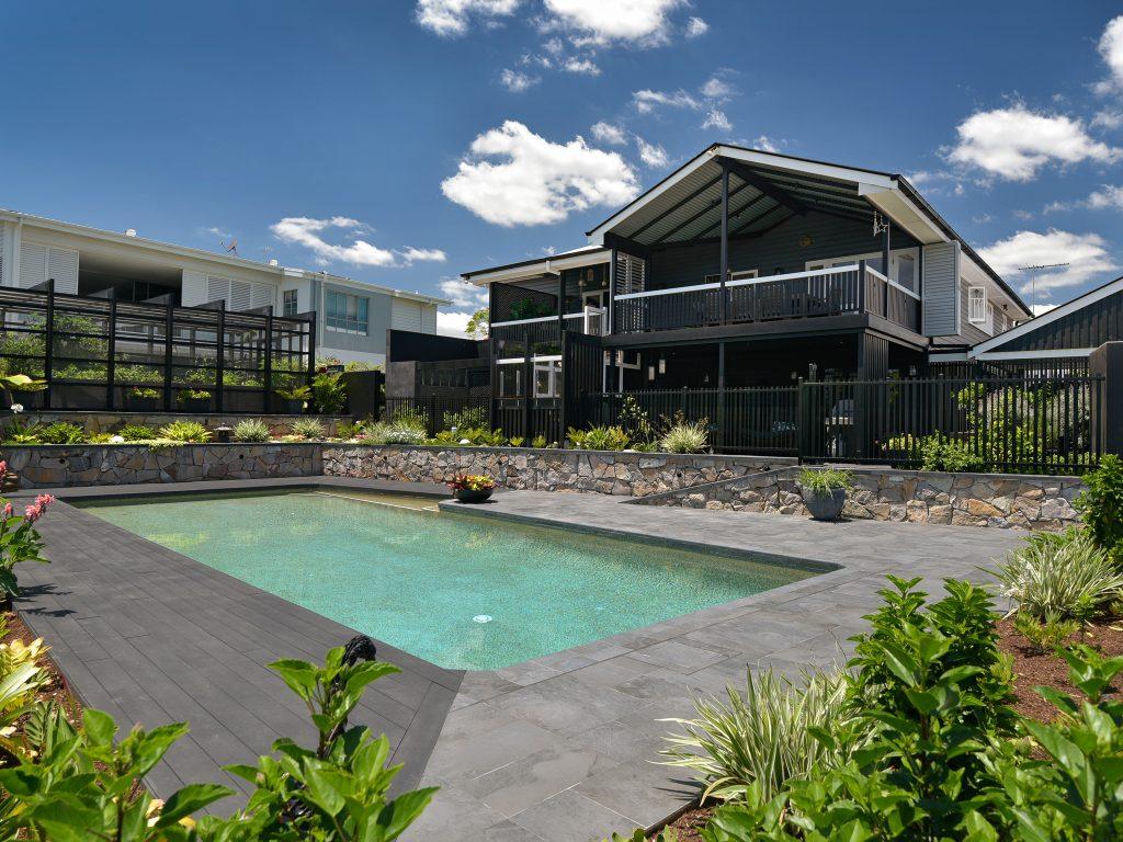 image of renovated hawthorne queenslander garden and pool area