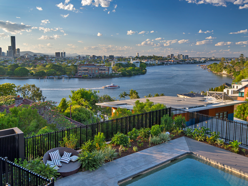 image of renovated queenslander garden and pool are view spring gardening
